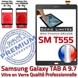 Gris SM-T555 Samsung TAB-A Assemblée Adhésif TITANIUM Tactile Qualité Anthracite Grise PREMIUM SM Ecran Verre Prémonté Galaxy T555 9.7 Vitre