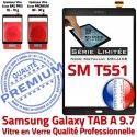 Galaxy SM-T551 Noir Metallic Verre Assemblée T551 SM Supérieure Vitre PREMIUM Noire TAB-A Ecran Qualité 9.7 Samsung Tactile Adhésif