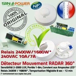 Détecteur pour Luminaire Éclairage Plafond Radar Mouvement Hyperfréquence Micro-Ondes 360° Capteur de Automatique Ampoules HF