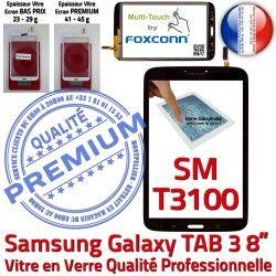 en Noir SM 8 in 3 T3100 Prémonté Ecran TAB Noire Verre Supérieure Coller Assemblée PREMIUM à SM-T3100 TAB3 Vitre Samsung Tactile Galaxy Qualité