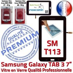 en Galaxy LCD SM-T113 Verre T113 Assemblée Vitre TAB3 Prémonté Tactile LITE Noire Tab3 PREMIUM Adhésif Noir Supérieure Samsung SM Qualité Ecran