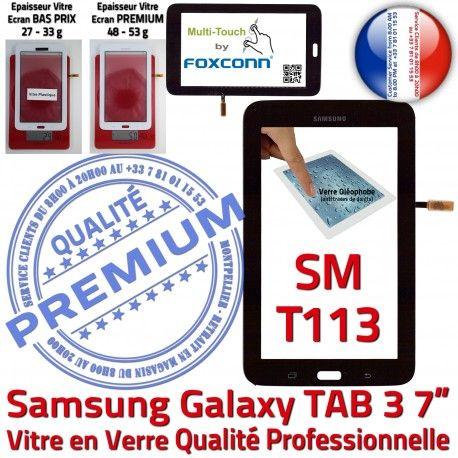 SM-T113 LITE Tab3 Noire SM Ecran Assemblée Noir Adhésif Supérieure Prémonté Verre Samsung T113 Qualité LCD en PREMIUM Vitre Galaxy Tactile TAB3