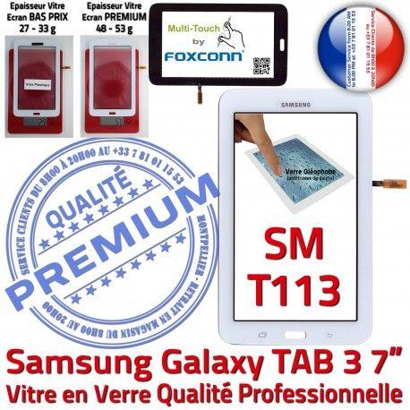 SM-T113 LITE Tab3 Blanche PREMIUM Samsung en LCD Assemblée Galaxy Qualité TAB3 Vitre Ecran T113 Adhésif Prémonté Verre SM Tactile Blanc Supérieure