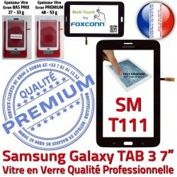T111 Tactile Samsung Vitre LITE en Qualité LCD Galaxy SM PREMIUM Ecran SM-T111 Verre Assemblée Adhésif Noire Noir TAB3 Prémonté Tab3 Supérieure