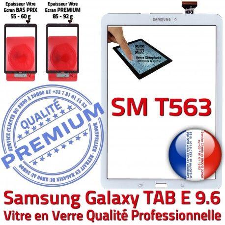 Samsung Galaxy TAB E SM-T563 B Ecran Prémonté Blanche 9.6 Qualité Assemblée Supérieure TAB-E Vitre Verre PREMIUM Blanc T563 Adhésif Tactile SM
