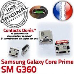 Qualité USB à Chargeur souder SM-G360 G360 Prise Prime Dorés SM Samsung Dock MicroUSB ORIGINAL Connector Core Pins Galaxy Fiche Micro de charge