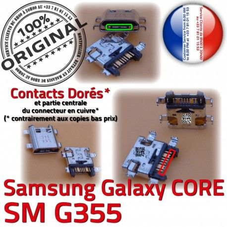 Samsung Core SM-G355 USB Charge PORT ORIGINAL Pins charge souder Chargeur Galaxy 2 Prise Connecteur de G355 à Dorés SM Qualité Connector Micro