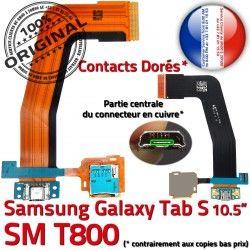 USB TAB-S Nappe Prise Qualité Micro Charge Lecteur Doré S Samsung Mémoire Galaxy ORIGINAL de SM-T800 SD Connecteur Port Chargeur Ch TAB