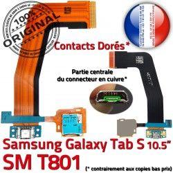 de Lecteur Qualité USB TAB-S ORIGINAL S Contacts Samsung Charge Connecteur TAB SM Galaxy Nappe SD Réparation Dorés Micro T801 Chargeur SM-T801