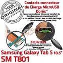 SM-T801 Micro USB TAB-S Charge de Connecteur SM Lecteur Samsung SD Galaxy Nappe TAB ORIGINAL Qualité Réparation T801 Contacts S Chargeur Dorés