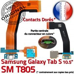 SM-T805 T805 USB Samsung Micro ORIGINAL Réparation Dorés S SM TAB-S Qualité de OFFICIELLE Ch Galaxy Nappe TAB Contacts Chargeur Charge Connecteur