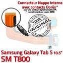 Samsung Galaxy TAB S SM-T800 Ch Port Chargeur de Qualité Nappe SD Lecteur Mémoire TAB-S Charge Micro USB Doré Prise ORIGINAL Connecteur
