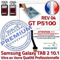 Blanche Qualité TAB2 Prémonté 04 LCD en Samsung REV Adhésif 2 R Galaxy Assemblée TAB Tactile B P5100 GT-P5100 10.1 PREMIUM GT Ecran Verre Vitre