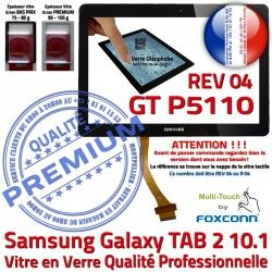P5110 2 Samsung PREMIUM Ecran GT-P5110 Tactile TAB 04 GT TAB2 REV Noire en Galaxy Vitre Prémonté Qualité N LCD Adhésif Verre 10.1 Supérieure R
