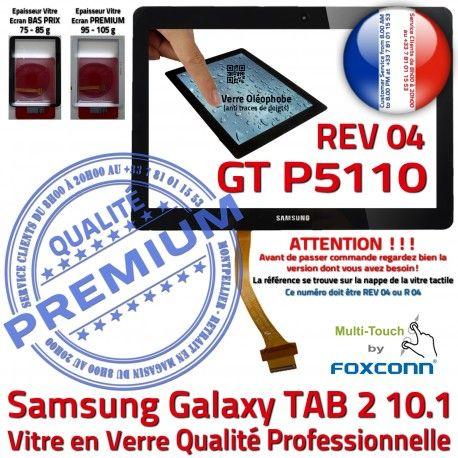 Galaxy TAB 2 GT-P5110 REV R 04 N 10.1 TAB2 Prémonté Ecran Samsung Adhésif Verre Supérieure LCD Qualité PREMIUM Vitre en P5110 Noire GT Tactile