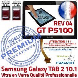 Noir PREMIUM Vitre N GT Tactile REV Ecran Verre Prémonté LCD Supérieure Galaxy P5100 Qualité TAB-2 en Samsung R04 Adhésif 10.1