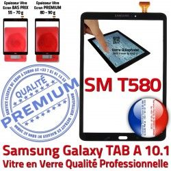 Noir en Noire Supérieure aux 10.1 Tactile N Galaxy Verre Qualité Samsung Chocs SM-T580 A Ecran PREMIUM TAB Vitre inch TAB-A Résistante