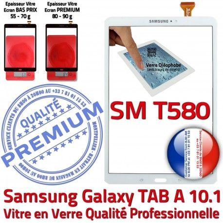 Samsung Galaxy TAB A SM-T580 B Ecran aux Supérieure Verre Chocs TAB-A Vitre Qualité Blanche en PREMIUM SM 10.1 Blanc Tactile T580 Résistante