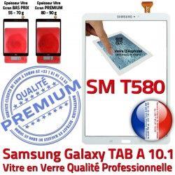 Blanc Vitre Blanche Tactile Supérieure B Samsung Résistante en Ecran PREMIUM TAB in Chocs TAB-A SM-T580 Verre Qualité A aux Galaxy 10.1