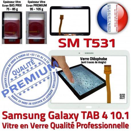 Galaxy SM-T531 Tab4 Blanche Adhésif PREMIUM Blanc Vitre TAB4 Qualité Verre Complet Écran Samsung Supérieure Tactile Complète Prémonté