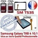 Galaxy SM-T535 Tab4 Blanche PREMIUM Samsung Blanc Complet Adhésif Supérieure Écran Qualité Prémonté TAB4 Verre Complète Tactile Vitre