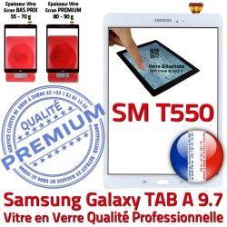 TAB Blanche Prémonté Qualité Adhésif A SM TAB-A Complète T550 PREMIUM Tactile Verre Précollé Écran Blanc Galaxy Complet SM-T550 Samsung Vitre