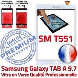 Vitre Écran Prémonté Précollé PREMIUM TAB-A Adhésif Qualité Blanc Galaxy Verre Complète TAB Samsung T551 A Complet Tactile Blanche SM-T551 SM