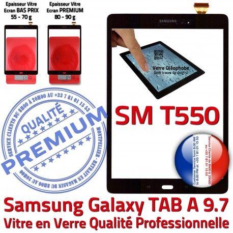 Galaxy TAB-A SM T550 Noire Prémonté Qualité Complète SM-T550 Assemblée Tactile en Écran Samsung A TAB Vitre Adhésif Noir Verre PREMIUM Complet