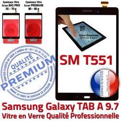 TAB-A Prémonté PREMIUM SM-T551 Noire Complète Noir SM Adhésif Samsung Assemblée Vitre Galaxy en Qualité TAB Verre A Tactile Complet Écran T551