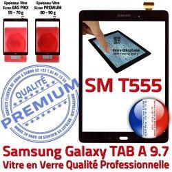 Noire Adhésif TAB-A TAB Tactile Complet T555 A Écran Qualité Vitre en SM Complète Galaxy Verre Samsung Assemblée PREMIUM Noir SM-T555 Prémonté