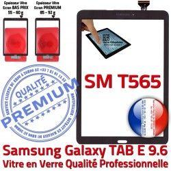 T565 E Assemblée SM-T565 Prémonté 9.6 TAB Qualité Galaxy TAB-E Verre Noir Ecran Tactile Samsung Noire SM Adhésif PREMIUM Supérieure Vitre