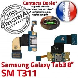 OFFICIELLE 3 Dorés TAB USB Galaxy Micro MicroUSB Contacts de ORIGINAL T311 Nappe Samsung TAB3 Qualité SM Connecteur SM-T311 Chargeur Réparation Charge