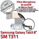 Samsung Galaxy SM-T311 TAB3 Ch Nappe TAB 3 OFFICIELLE Charge T311 de Qualité Contacts Chargeur Connecteur ORIGINAL Réparation Dorés SM MicroUSB