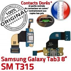 ORIGINAL de SM-T315 Galaxy Nappe Chargeur MicroUSB Charge TAB3 Qualité OFFICIELLE TAB Réparation Connecteur Ch Dorés 3 Contacts Samsung