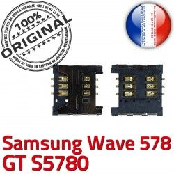 SLOT Connector souder SIM Reader 578 Card OR Samsung Carte GT Wave Prise Lecteur à Contacts Pins Dorés s5780 ORIGINAL Connecteur S