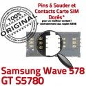 Samsung Wave 578 GT s5780 S à SLOT SIM Lecteur Card Connecteur souder Carte Connector ORIGINAL Prise Pins Reader Contacts Dorés OR