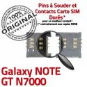 Samsung Galaxy Note GT N7000 S Reader Connecteur souder Connector Lecteur Dorés ORIGINAL à Contacts SLOT SIM Card Carte Pins