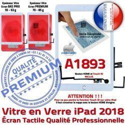 HOME AIR Ecran IC Adhésif iPad A1893 Nappe Oléophobe Monté Tablette Tactile Verre Fixation Vitre Blanc Qualité Caméra Réparation