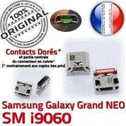Connector à Chargeur MicroUSB USB ORIGINAL charge Galaxy Dorés Samsung Qualité SLOT souder Prise GT-i9060 Fiche Pins Dock Grand NEO