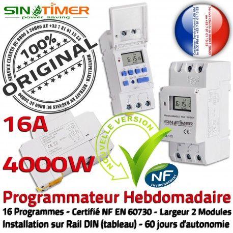 Programmation Turbine 16A 4kW Automatique Heures DIN Programmateur Hebdomadaire Creuses 4000W Jour-Nuit Commutateur Rail Electronique