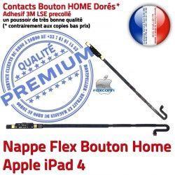 Réparation 4 Bouton Accueil Poussoir Adhésif Nappe Apple Autocollant Remplacement Châssis Precollé iPad Tablette Home Flex