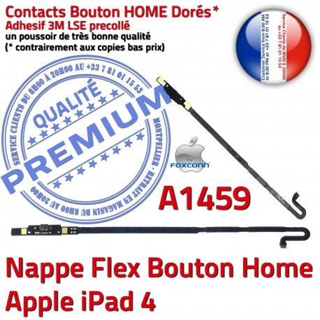 Nappe Bouton Home iPad 4 A1459 Remplacement Adhésif Apple Autocollant Châssis Qualité iPad4 Accueil Tablette Poussoir Flex Réparation