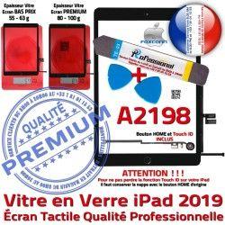 N Démontage 2019 Adhésif Outils Réparation A2198 HOME PACK Verre Precollé Vitre Tactile Noire Oléophobe PREMIUM Bouton KIT Qualité iPad