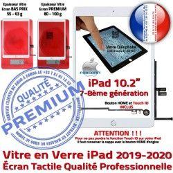 iPad in Remplacement Qualité Precollé Bouton Ecran Adhésif Fixation inch PREMIUM Tactile 2019-2020 Vitre 10.2 HOME Caméra Blanc Verre