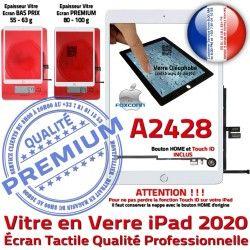 Ecran A2428 Tactile Caméra Oléophobe Qualité Vitre Adhésif Blanc Nappe Réparation Monté 2020 Verre Tablette Fixation HOME iPad