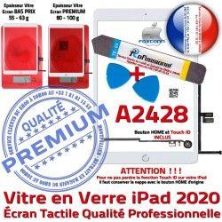 A2428 KIT 2020 Verre Qualité iPad PACK PREMIUM Adhésif Vitre HOME Blanche Oléophobe Outils Nappe Precollé Tactile Bouton Réparation B