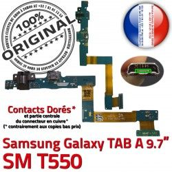 ORIGINAL Galaxy USB Réparation Micro Contact de OFFICIELLE MicroUSB A Samsung SM-T550 TAB SM T550 Nappe Doré Connecteur Qualité Chargeur Charge