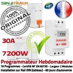 16 Programmation Tableau électrique Electronique Horloge SINOTimer Digitale 7kW DIN 30A Minuterie Programmes Journalière Rail Automatique