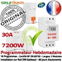 Commutateur Chauffage Minuterie 7kW Digital Rail électrique 30A 7200W Minuteur Tableau DIN Journalière Électronique Programmation