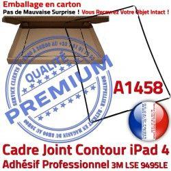 Contour Adhésif N iPad 4 Tactile Tablette Noir Ecran Autocollant Precollé Vitre Plastique Apple A1458 Réparation Joint Châssis Cadre
